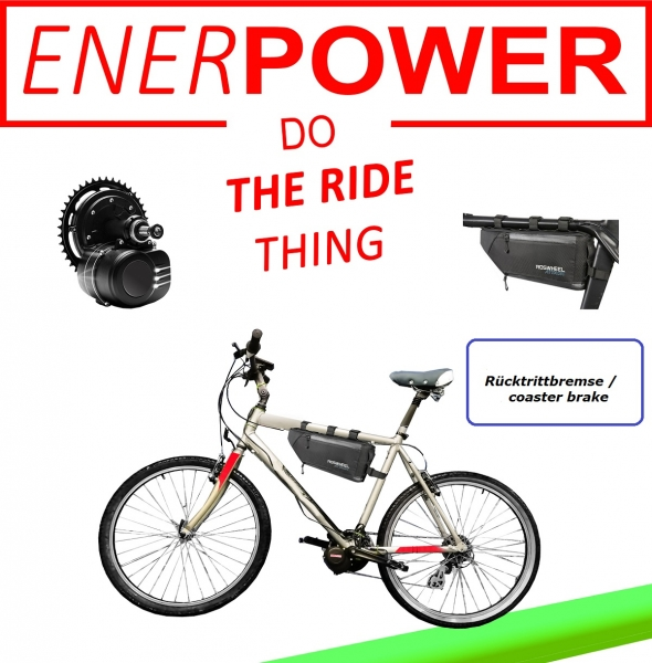 Motor Kit 250W coaster Brake + Battery 36V softpack in frame bag + Charger 2A