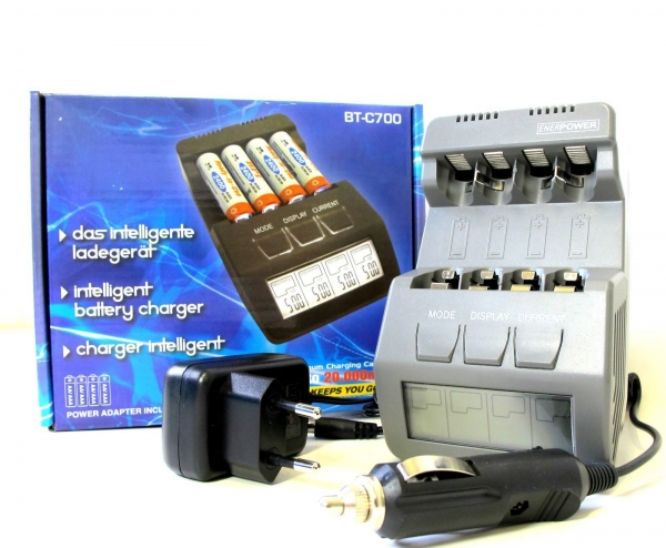 ENERpower BT-C700 Intelligent Charger for 4 AA/AAA NIMH/NiCd Rechargeable Batteries 1.2V