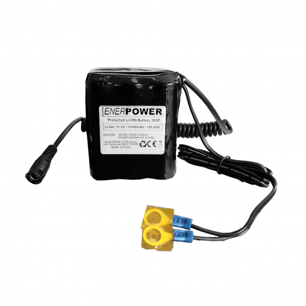 ENERpower 3S3P 11.1V battery (12V) 15Ah 165 Wh 3 x 3 for Echosounder