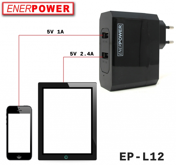 ENERpower EP-L12 Universal Dual 5V Power Supply USB Charger (2.4A / 1A)