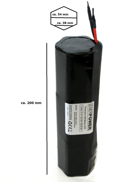 ENERpower Battery-Tank 11.1V 24.15Ah Li-Ion DIY Open-End Hexagon