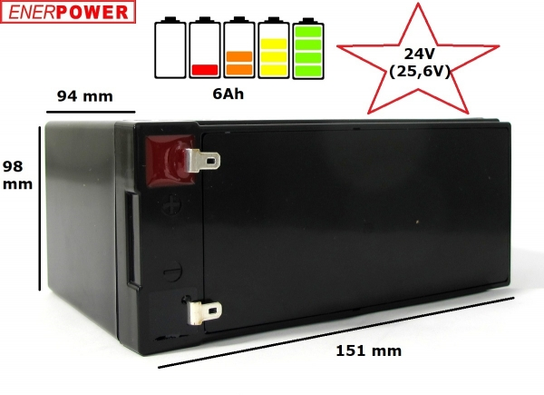 ENERpower LiFePo4 24V (25.6V) 6Ah replaces 2 x lead-acid 12V Batteries