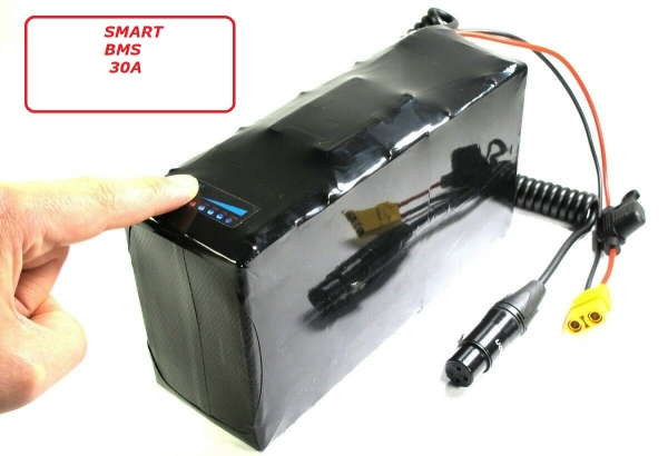 Softpack Battery 36V 17.1Ah BMS 30A XLR-3 with 29E